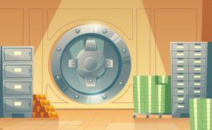 Blockchain vs Cryptocurrency Metaphor Vault Room Deposit Box